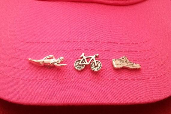 Swim Bike Run Sports Pins Tie Tacks, Inspirational Hat Pins, Lanyard Pins, Athlete Lapel Pins Tie Tacs, Sports Jewelry Pins, Coach Team Pin