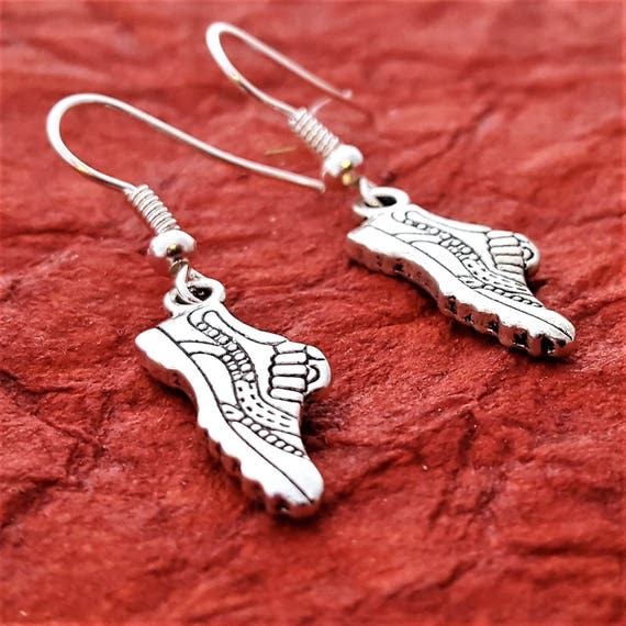 Running Shoe Earrings, Gifts for Runners Bikers Marathon, Crossfit Jewelry, Sneaker Charms, Fitness Body Building Weightlifting Sports Gifts