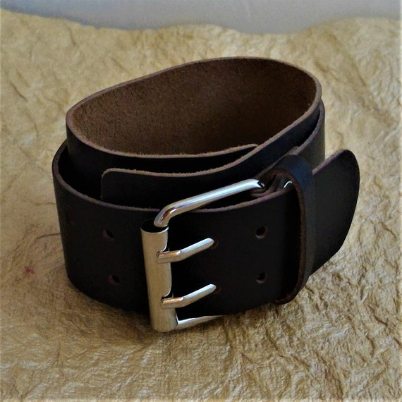CLEARANCE Wide Dark Brown Leather Cuff with Double Strap and Double Buckle, Genuine Leather Goth Bracelet Wrist Cuff