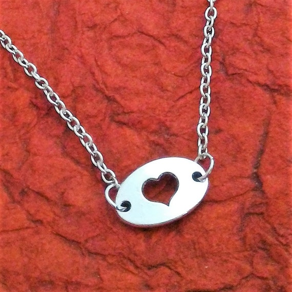 Tiny Die-cut Heart Charm Necklace. Minimalist Small Silver Heart Jewelry, Cut-out Heart Charms, Gift for Mom Daughter Mother, Tiny Hearts