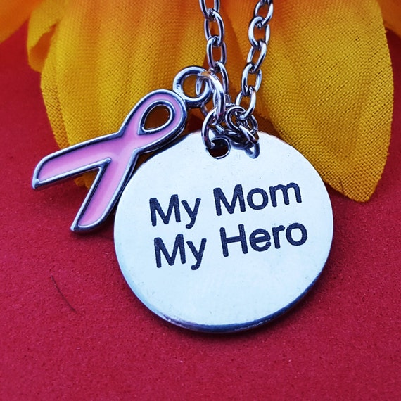 Breast Cancer Survivor Charm Necklace, Breast Cancer Jewelry, Breast Cancer Charm, Pink Ribbon Cancer Survivor Charms, Mother's Day Gift