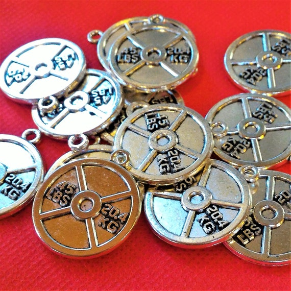 CLEARANCE 5 Piece Sets of 45# Weight Plates, 45 pound Barbell Weights Charms, 20.4KG Weights