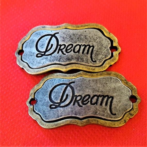 CLEARANCE 2 pcs Antique Silver Bronze Two Tone Dream Charm for Wrist Cuff Belt Bracelet Purse Hat Plaque Crafts, Large Silver Dream Pendant
