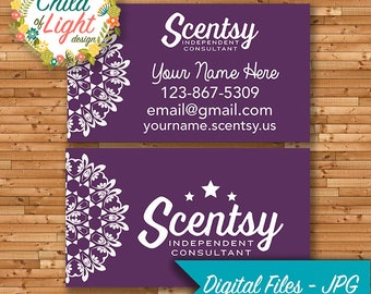Scentsy business card etsy authorized scentsy vendor business cards custom business card purple mandala personalized cards print your own colourmoves