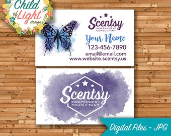 Scentsy business card etsy authorized scentsy vendor independent cards custom business card indigo butterfly personalized cards print your own colourmoves
