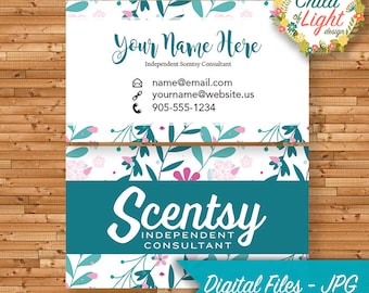 Scentsy business card etsy authorized scentsy vendor business cards custom business card teal floral personalized cards print your own reheart Image collections