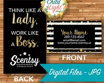 Scentsy business card etsy authorized scentsy vendor business cards custom business card boss lady personalized cards print your own on vistaprint accmission Images
