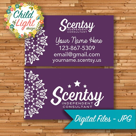 Autorisé Scentsy vendeur - cartes de visite - carte d'affaire personnalisée - Mandala violet - personnalisé cartes - imprimer vos propres
