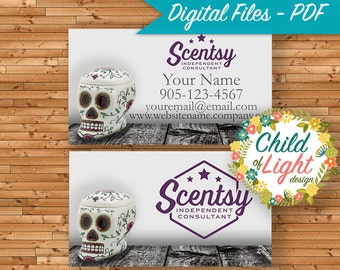 Scentsy consultant etsy authorized scentsy vendor business cards custom business card calavera personalized cards reheart Image collections
