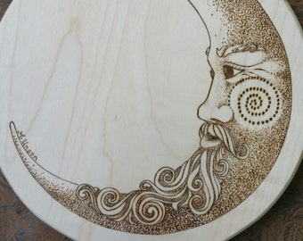 man in the moon mirror, personalized, heirloom quality bridesmaid gift, handheld mirror, woodburned moon, celestial art