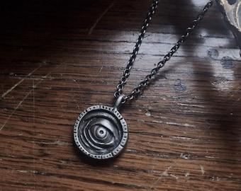 Witch Eye Pendant - Third Eye Charm - Silver Evil Eye - Goth Eye Necklace - Hocus Pocus Jewelry - Eye Jewelry - Halloween Pendant