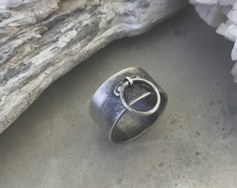 Silver Choker Ring - Industrial Silver Ring - Goth Ring - BDSM Jewelry - Subtle Fetish Ring - Ring of O - Dangling Silver Ring - Witchy