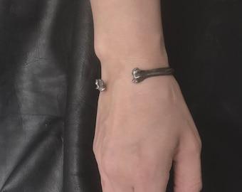 Cat Bone Cuff - Memento Mori Jewelry - Familiar Jewelry - Cat Lover Gift - Cat Lady - Goth Bracelet- Unisex Jewelry - Goth Gift - Silver