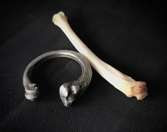 Bone Ring Silver - Cat Bone Ring - Memento Mori  Ring - Witchy Silver Ring - Cat Ring - Goth Jewelry - Goth Ring - Adjustable Ring - Relic