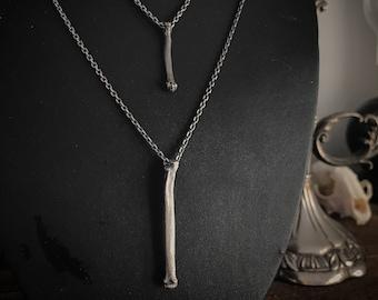Bone Silver Pendant - Cat Bone Pendant - Minimalist Goth Pendant - Layering Chain - Memento Mori Jewelry - Bone Necklace - Halloween Jewelry