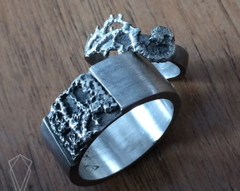 READY TO SHIP Vintage lace sterling silver unisex  large ring texture wedding band silver ring original wedding band lace jewelry boho