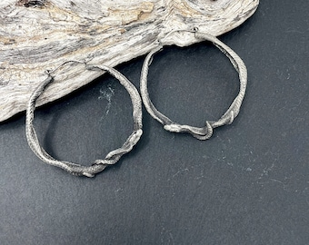 Big Snake Hoops - Silver Ouroboros Earrings - Medusa Earrings - Snake Ear Weights - Goth Earrings - Memento Mori Jewelry - Goth Snake