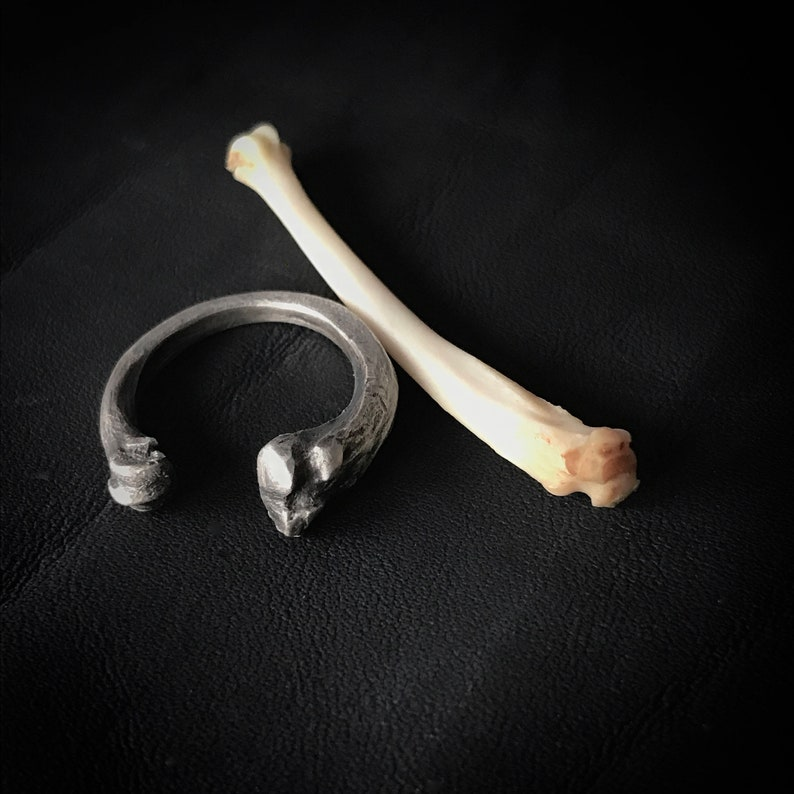Cat bone open ring Memento Mori ring familiar cat lover image 0