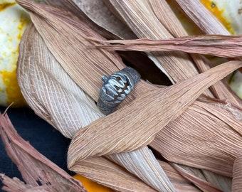 Pumpkin Jack-O Ring - Carved Pumpkin Ring - pumpkin Jewelry - Halloween Lover Ring - Halloween Gift - Horror Fan Gift - Goth Silver Ring