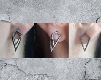 Geometric Ear Jacket - Layered Ear Studs - Uneven Diamond Shape Earrings - Minimalist Earrings - Points Ear Jackets - Witchy Jewelry -
