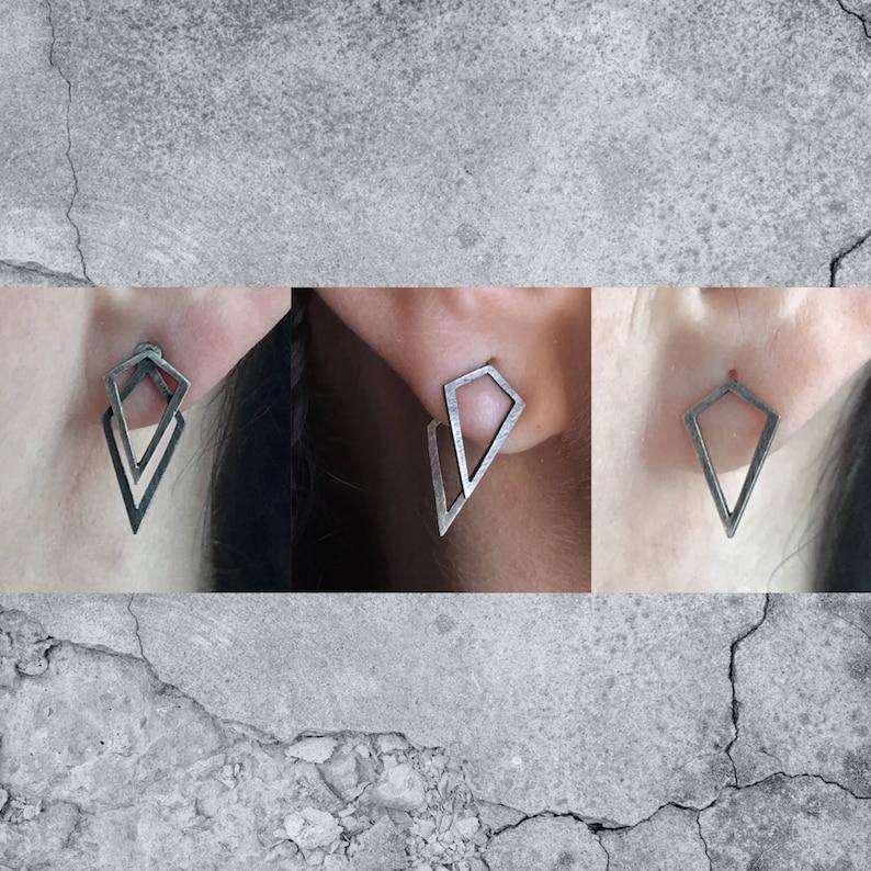 Uneven geometric ear jacket 3 in one earrings geometric image 0