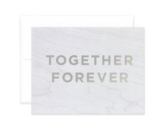 """Faux Bois """"Together Forever"""" Greeting Card"""