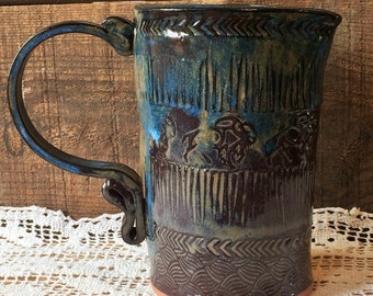 Pitcher ~ Buffalo Stamping ~ Curly Handle ~ Rustic ~ Maple Syrup Pourer ~ Dessert Sauce ~ Flower Vase ~