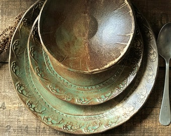 Wild Buffalo Dinnerware Set ~ Native American ~ Dinner & Salad Plate and Bowl ~ Southwestern Ranch Cabin ~ Rustic Vermont Handmade Pottery