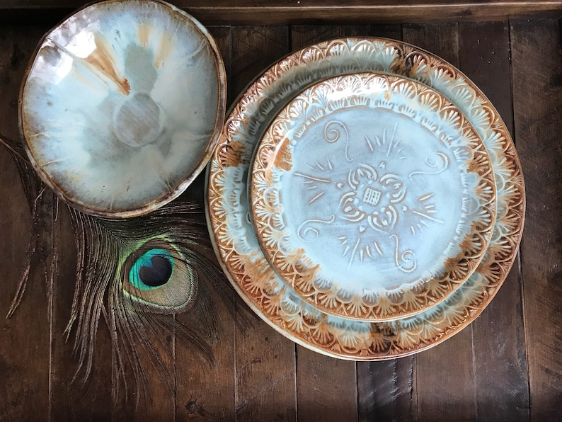 MADE TO ORDER ~ Native Mandala Dinnerware Set ~ Dinner Plate and Salad Plate and Bowl ~ Vermont Handmade Pottery