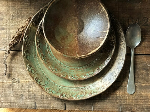 MADE TO ORDER ~ Wild Buffalo Dinnerware ~ Native American ~ Dinner & Salad Plate and Bowl ~ Southwestern ~ Rustic Vermont Handmade Pottery