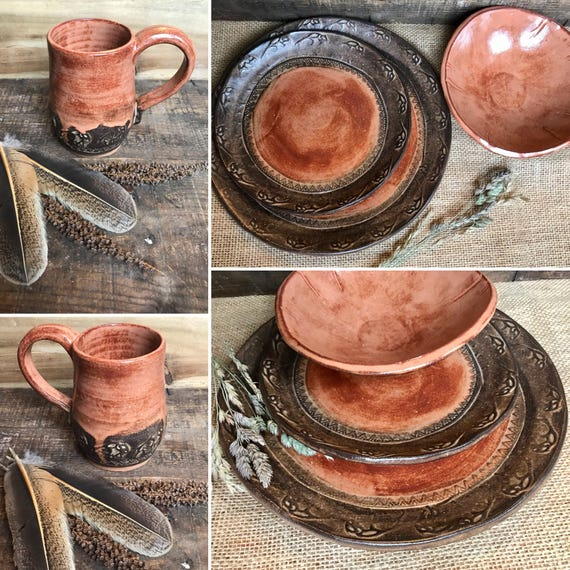 MADE TO ORDER ~ Wild Buffalo Dinnerware Set Including Mug ~ Native American ~ Southwestern Ranch & Cabin ~ Rustic Handmade Vermont Pottery