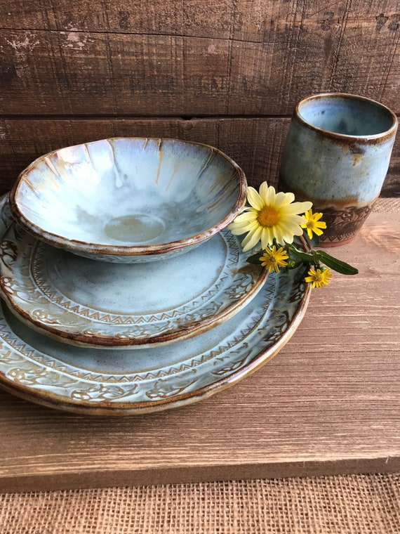 MADE TO ORDER ~ Wild Buffalo Dinnerware Set Including Tumbler ~ Native American ~ Ranch Cabin Kitchen ~ Rustic Vermont Handmade Pottery