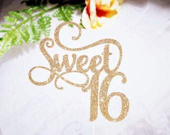 Sweet 16 Cake Topper Birthday Party Glitter Gold