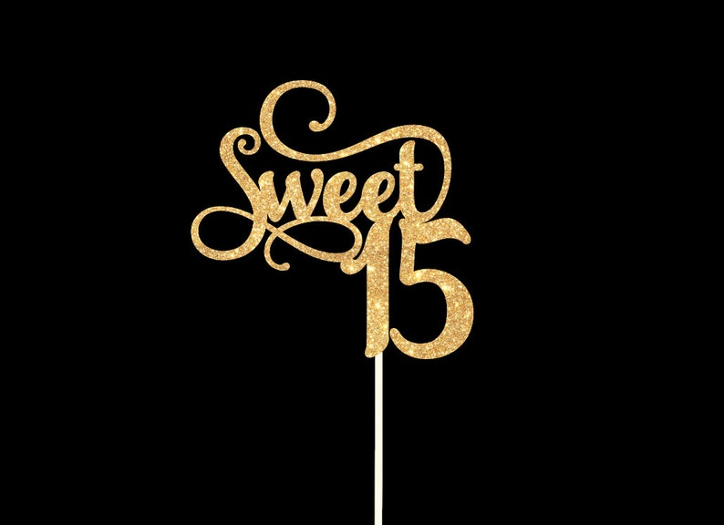 Sweet 15 Cake Topper Birthday Party Glitter Gold