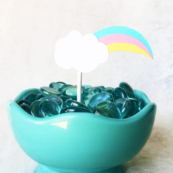 Unicorn Cloud Rainbow cupcake Toppers!!! Perfect for Unicorn Party, Rainbow  Party, Baby Showers, Magical Cupcakes!!