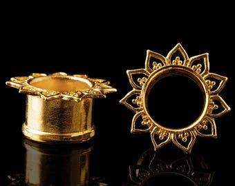 "Lotus flower tunnels, gold plated plugs, tribal mandala ear tunnel, ear gauges brass 8g 6g 4g 2g 0g 00g 1/2"" 9/16"" 5/8"" 11/16"" Inch 10mm"
