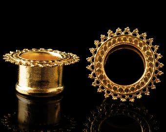 "Tribal tunnels, gold plated mandala plugs, tribal ear tunnel indian gold ear gauges brass earrings 6g 4g 2g 0g 00g 1/2"" 9/16"" Inch 5/8"" 8mm"