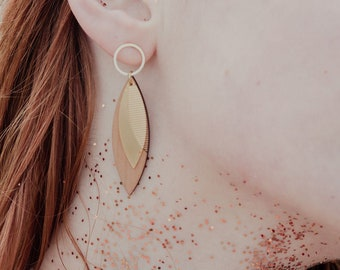 Hanging wooden earrings for women ~ Mai ~