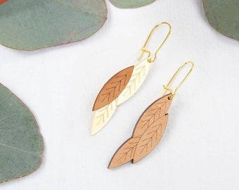 Hanging wooden earrings for women - asymmetrical ~ Miki ~