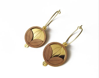 Women's creoles in plum wood and gold-plated brass - flower pattern - Cimba -