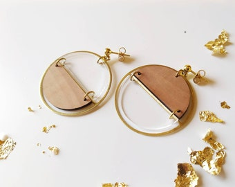 Asymmetrical women's wooden and plexiglass earrings - Reina