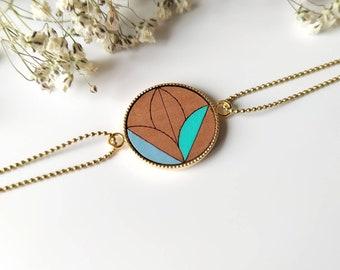 Bracelet woman circle in engraved and painted wood - blue ~ Naya ~