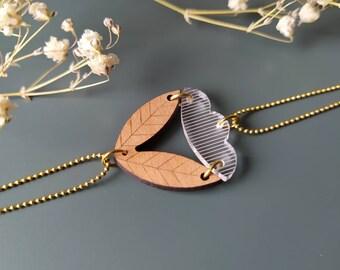 Women's bracelet in engraved wood and transparent plexiglass ~ Sarü ~