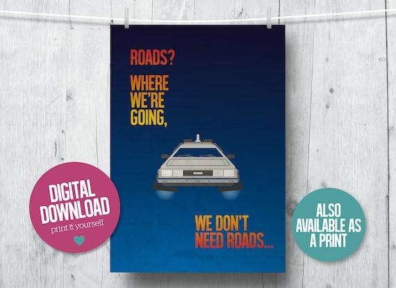 1 Back To The Future Print Delorean Retro Classic Film Vintage Movie Poster