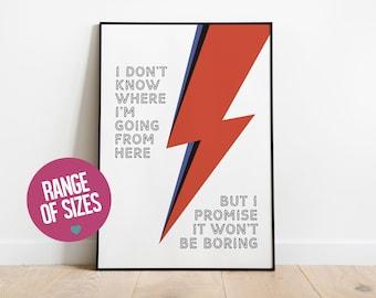 David Bowie print, Aladdin Sane print, Ziggy Stardust poster, rock music print, quote wall art, unframed wall art