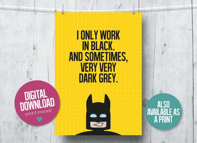 photo about Lego Batman Printable referred to as Lego Batman printable, Lego Video clip poster, superhero wall artwork, Lego items, Batman video clip quotations, little ones prints, DC Comics print, boys place decor