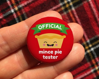 Mince pie tester Christmas badge, Christmas eve box fillers, stocking filler, small Christmas gift, secret Santa gift, cracker fillers