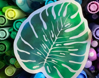 Matte Holographic Watercolor Monstera Vinyl Sticker