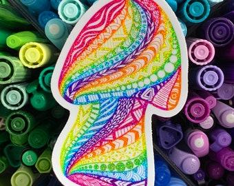 Rainbow Glitter Mushroom Vinyl sticker - Lisa Frank Inspired Vinyl Mushroom sticker