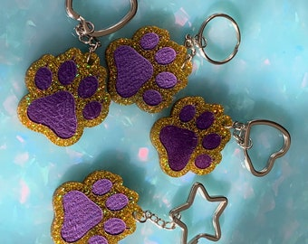LSU Tiger Paw Keychain in Purple and Gold